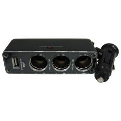 車用 點菸座擴充3孔+ 1 USB充座 WF-0096黑色