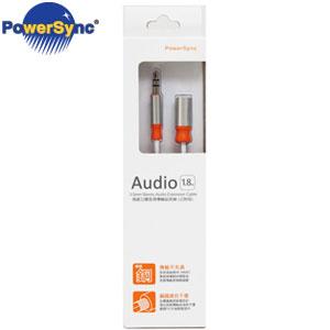 PowerSync群加 3.5mm立體音源線(公對母) 1.8M 銀白 35-ERMF189