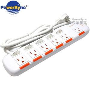 PowerSync群加 3P 6插5開安全防塵延長線 2.7M PW-EDA5627