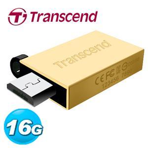 Transcend 創見 JetFlash380 16GB OTG 鋅合金 隨身碟 (璀璨金)