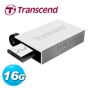 Transcend 創見 JetFlash380 16GB OTG 鋅合金 隨身碟 (霧面銀)