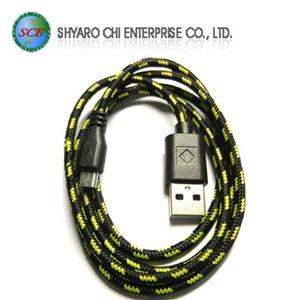 SCE世淇 UB-366B USB2.0 A公-Micro B公棉質線 1米黑色