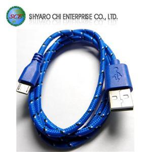 SCE世淇 UB-366BL USB2.0 A公-Micro B公棉質線 1米藍