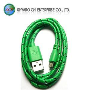 SCE世淇 UB-366G USB2.0 A公-Micro B公棉質線 1米綠色