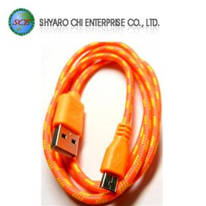 SCE世淇 UB-366O USB2.0 A公-Micro B公棉質線 1米橙色