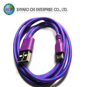 SCE世淇 UB-366P USB2.0 A公-Micro B公棉質線 1米紫色