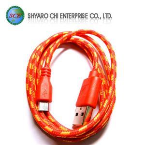 SCE世淇 UB-366R USB2.0 A公-Micro B公棉質線 1米紅色