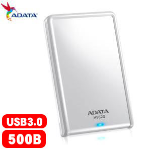 ADATA威剛 HV620 2.5吋 500GB USB3.0 行動硬碟 白