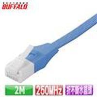 Buffalo 獨家專利水晶頭卡榫折不斷 Cat 6平板網路線(2M)-藍