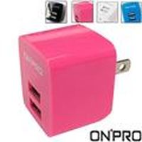 OP-UC-2P01 (粉紅色)USB雙埠電源供應器/充電器(5V/2.4A)