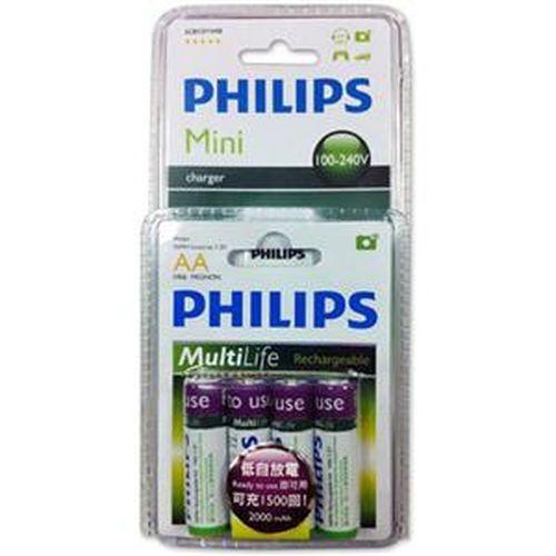 PHILIPS 飛利浦 3號2000mAh低自放充電池4入+兩槽充電器