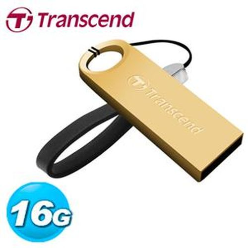 Transcend 創見 JetFlash520G 16GB 隨身碟 鋅合金防水抗震碟 (奢華金)
