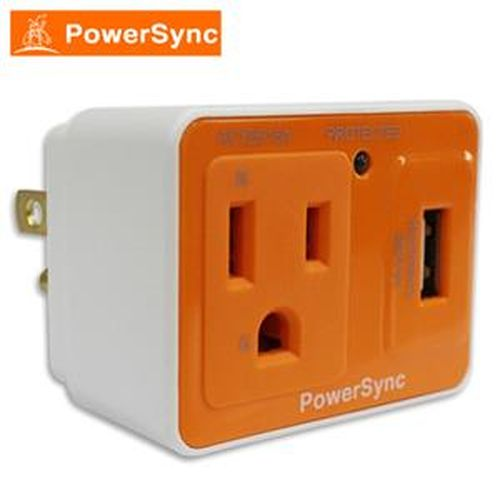 群加 PWS-ESU1013 防雷擊抗突波AC+USB充電插座 橘