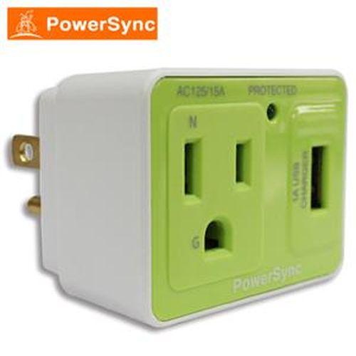 群加 PWS-ESU1015 防雷擊抗突波AC+USB充電插座  綠