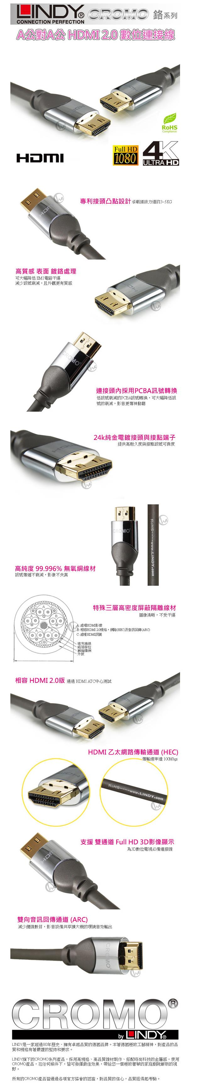 LINDY林帝 鉻系列 HDMI 2.0連接線 10M 41446價格比價資訊 |friDay購物