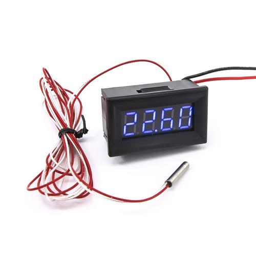 防水型0.36四位元 PT100溫度錶頭(黑殼藍光)