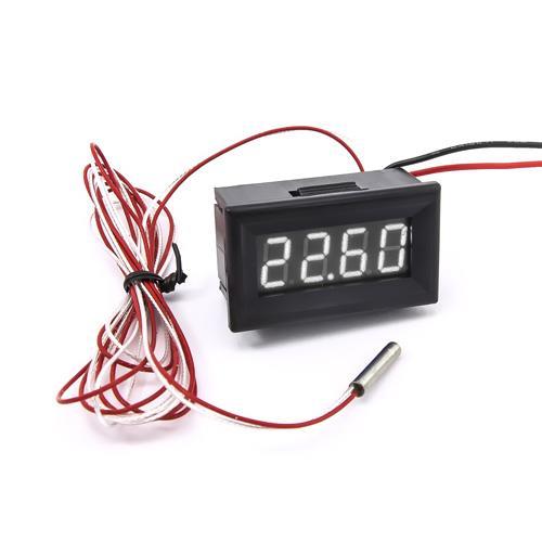 防水型0.36四位元 PT100溫度錶頭(黑殼白光)