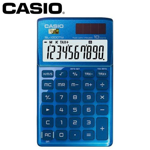 CASIO 卡西歐 10位元時尚閃耀金屬攜帶型計算機 SL-1000TW 琉璃藍
