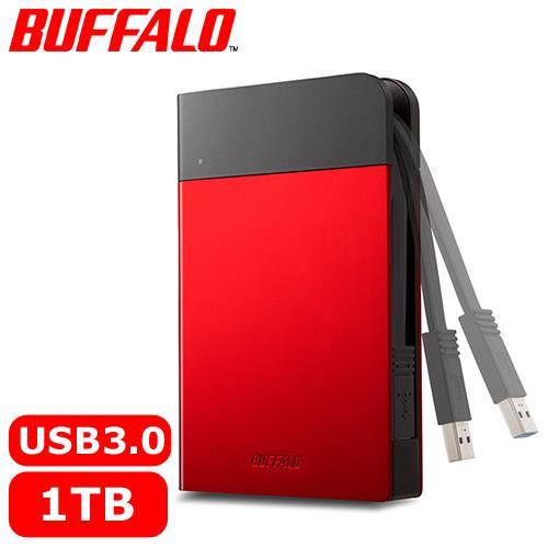BUFFALO 2.5吋 1TB 軍規防震加密行動硬碟 紅 HD-PZF