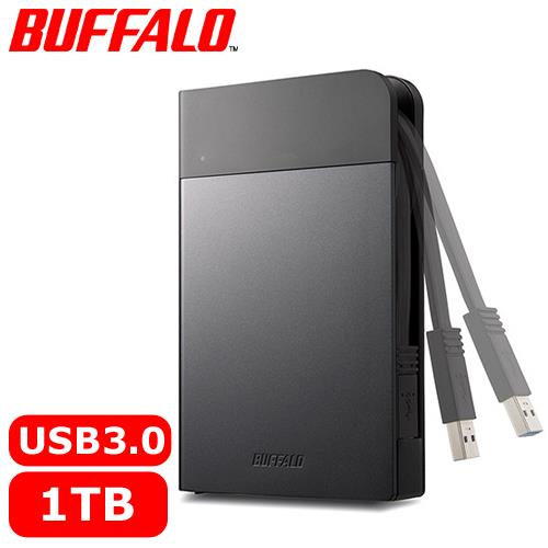 BUFFALO 2.5吋 1TB 軍規防震加密行動硬碟 黑 HD-PZF
