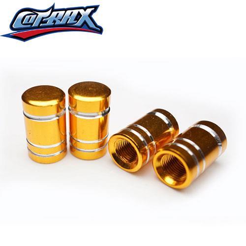 COTRAX鋁合金氣嘴蓋陽極切削圓頭(金)(四入裝)