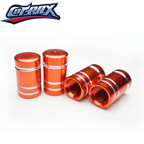 COTRAX鋁合金氣嘴蓋陽極切削圓頭(橘)(四入裝)