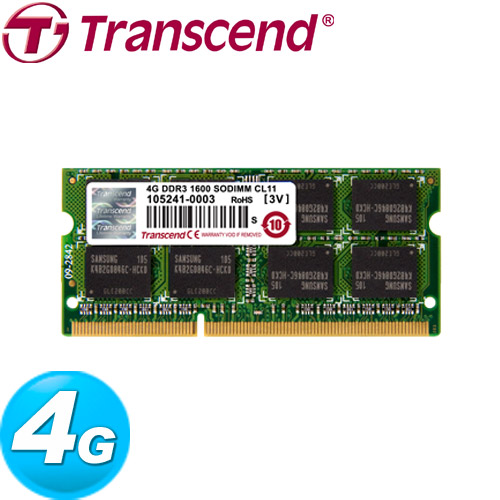 Transcend創見 DDR3-1600 4GB 筆記型記憶體