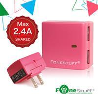 FONESTUFF 5V/2.4A雙USB方塊插座充電器-粉