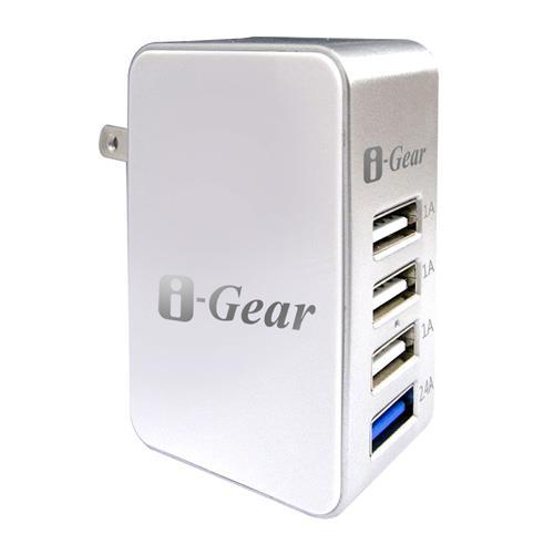 i-Gear 5.4A大電流4 port USB大電流旅充變壓器 IAU-54A(白)