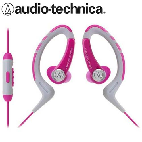 鐵三角 ATH-SPORT1iS 防水運動智慧手機用耳掛式耳機 粉紅