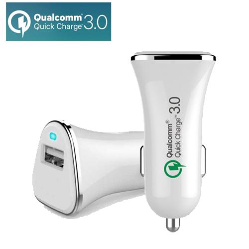 彰唯 智慧型QC3.0晶片高速車用USB充電器 白色