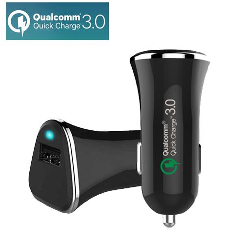 彰唯 智慧型QC3.0晶片高速車用USB充電器 黑色
