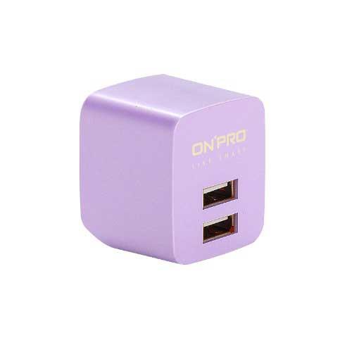 ONPRO UC-2P01 USB雙埠電源供應器/充電器 金屬紫