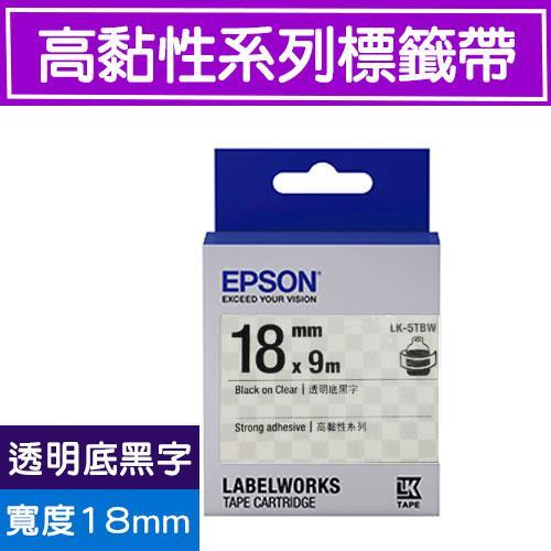 EPSON LK-5TBW S655410 標籤帶(高黏性系列)透明底黑字18m