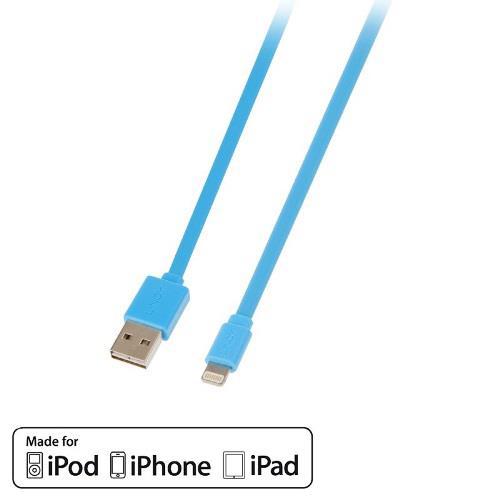 Apple Lightning 原廠認證盲插扁線-天空藍