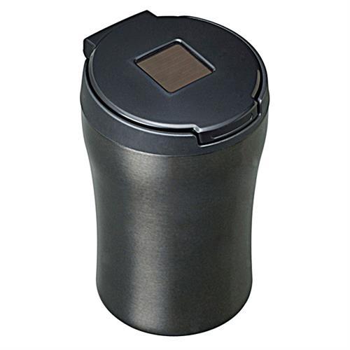 日本SEIWA 不銹鋼太陽能夜間感應式LED燈 煙灰缸(黑)