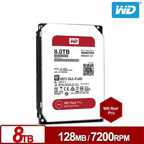 WD 旗艦紅標 3.5吋 8TB SATA3 NAS專用內接硬碟WD8001FFWX