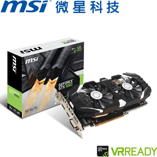 MSI微星 GeForce® GTX 1060 3GT OC 顯示卡