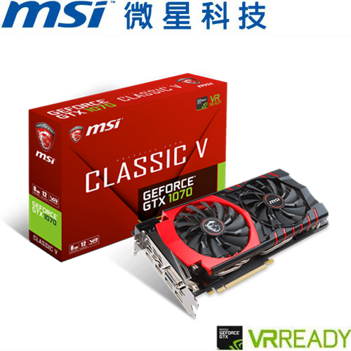 MSI微星 GeForce® GTX 1070 Classic GAMING 顯示卡