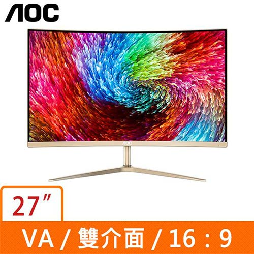 AOC 27型 曲面VA(16:9金色)液晶螢幕 C2789FH8