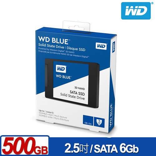WD SSD 500GB 2.5吋 3D NAND固態硬碟 藍標