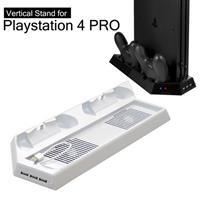 【客訂】PS4 PRO 主機專用直立架含雙手把坐充及散熱風扇白 (KJHPS4PRO-03)