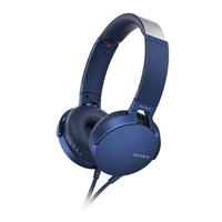 【公司貨-非平輸】SONY 重低音可通話耳罩式有線耳麥 MDR-XB550AP-L 藍