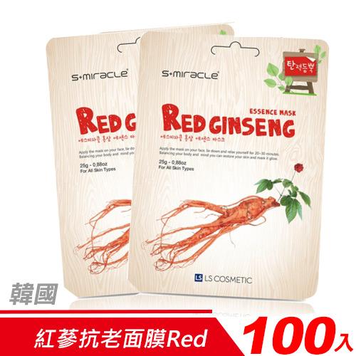 【超值組-100入】韓國 S+Miracle-紅蔘抗老面膜Red Ginseng