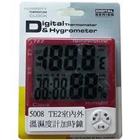 TE2室內/外大螢幕溫濕度計+時鐘