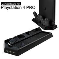 【客訂】PS4 PRO主機專用直立架含雙手把坐充及散熱風扇黑 (KJHPS4PRO-03)
