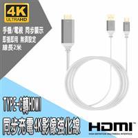TYPE-C轉HDMI同步充電4K影像強化線2M