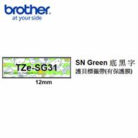 Brother TZe-SG31 SNOOPY Green底黑字 12mm 護貝標籤帶