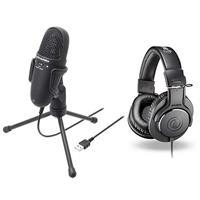 audio-technica 高性能收音USB麥克風 AT9934USB + 專業型監聽耳機 ATHM20x