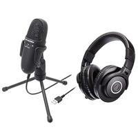 audio-technica 高性能收音USB麥克風 AT9934USB + 專業型監聽耳機 ATHM40x